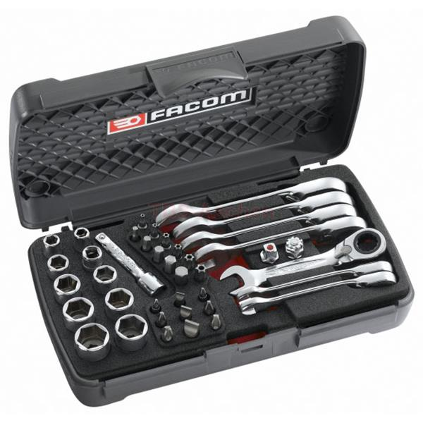 Facom 467S.BOX Ultra compact metric wrench, socket and bit set