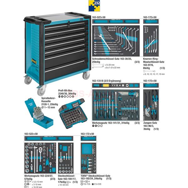 hazet 179xl 7 232 werkzeugwagen mit werkzeug. Black Bedroom Furniture Sets. Home Design Ideas