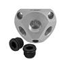 Luftverteilerdose Aluminium inkl. 2 Stopfen 1/2 - 3 x 1