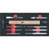 KS-Tools 713.0009 SCS chisel and hammer set, 9 pcs