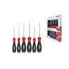 Wiha 21251 Screwdriver set SoftFinish® Slotted, Pozidriv hexagonal blade and solid steel cap, 6-pcs.
