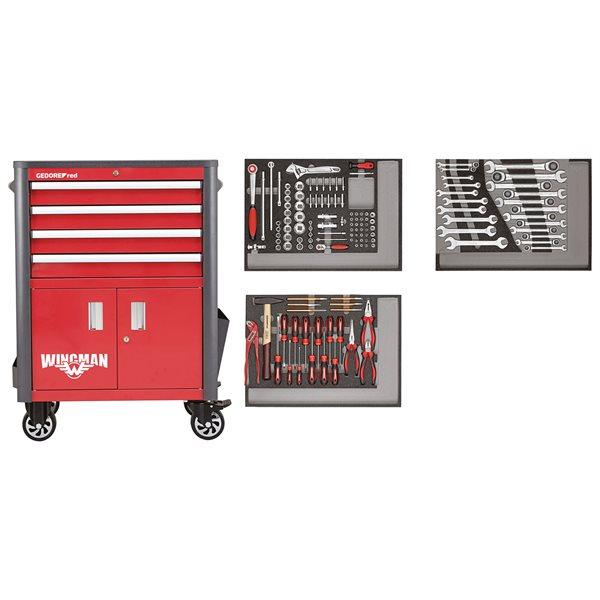 gedore red r22041004 werkstattwagen 129 teilig. Black Bedroom Furniture Sets. Home Design Ideas