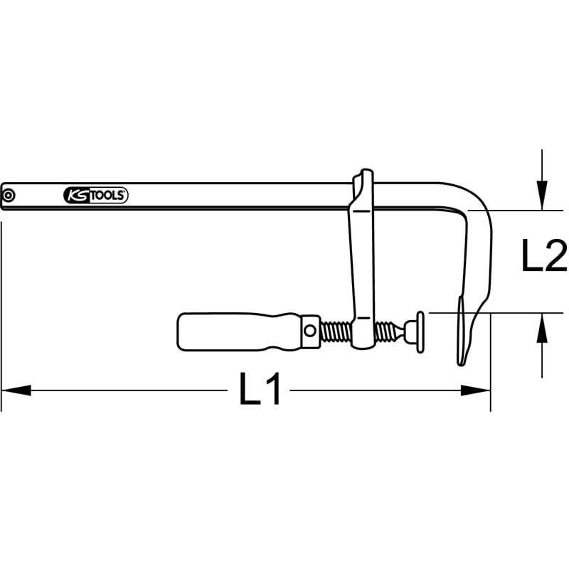 KS Tools 145.0201 Ganzstahl-Schraubzwinge 50x100mm