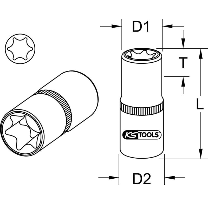 """KS Tools 1//2/"""" TX-E-STECKNUSS E14 911.4336"""