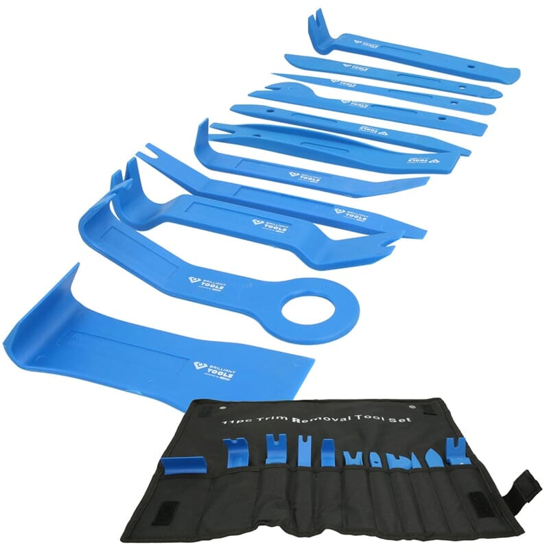 Trim removal tool set in roll-up wallet, 11-pieces